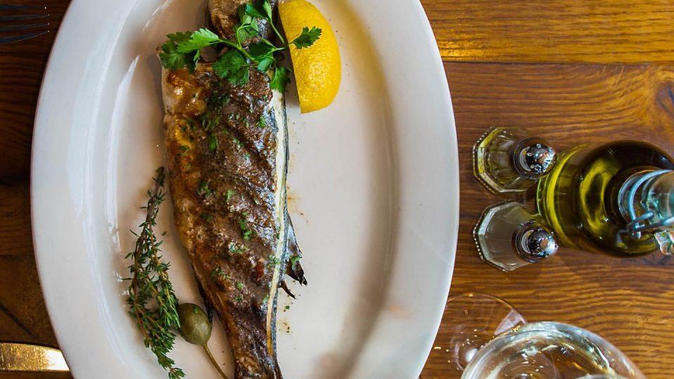 Whole Bronzino Fish with lemon and herbs