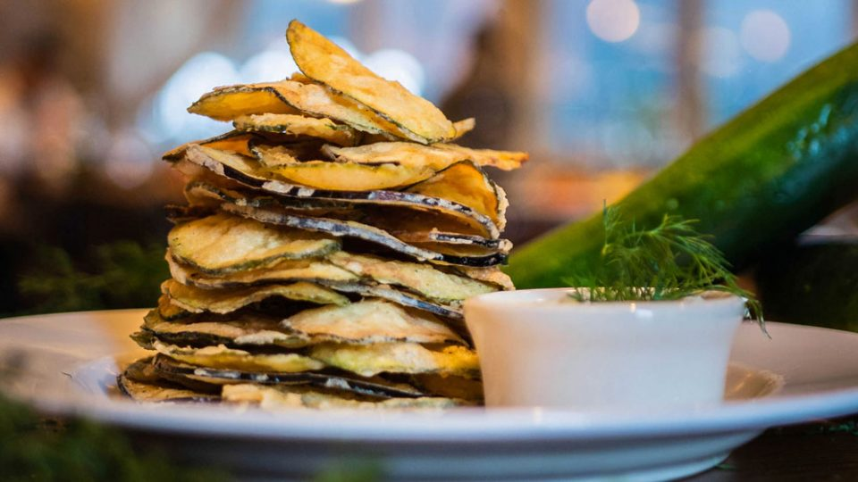 Zucchini and Eggplant Chips with a side of tzatziki