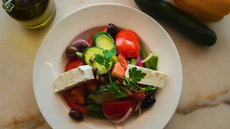 Greek Salad with chunks of Feta