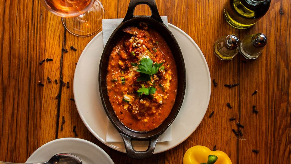 Shrimp Saganaki with wine and bright peppers